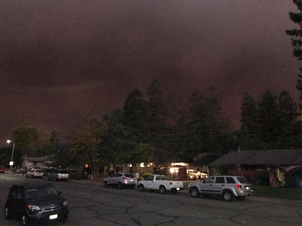 The Smoke at Sunset Above Bennett Valley California Day Three Santa Rosa Fires Oct 2017