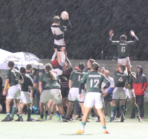 Chico State Rugby in the Rain/Sleet Social Media Post